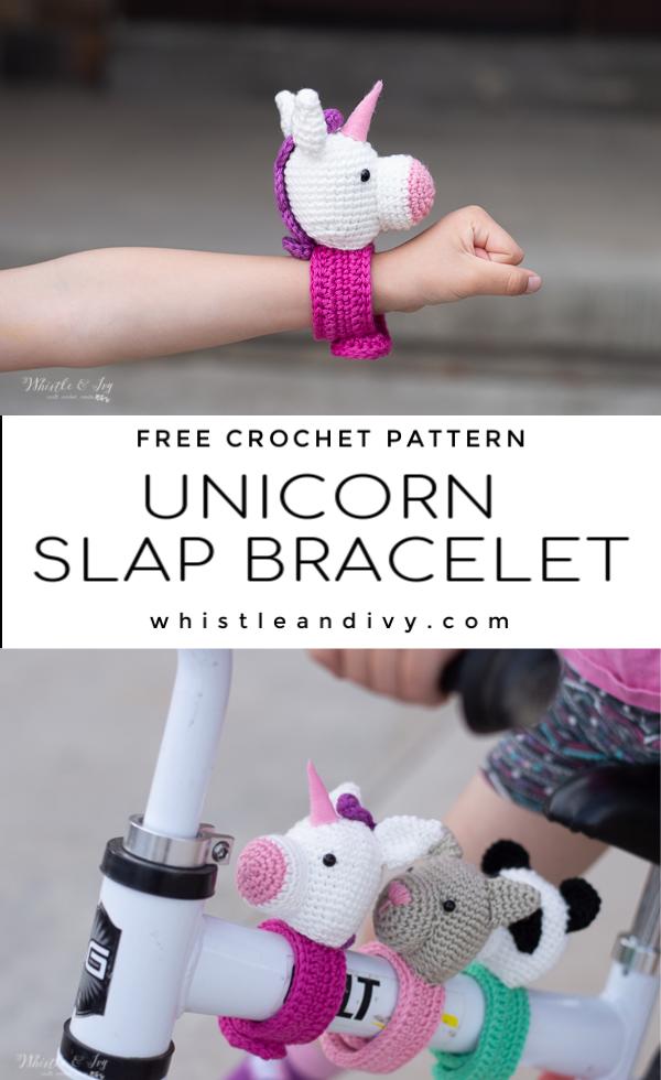 crochet unicorn bracelet free crochet pattern slap bracelet