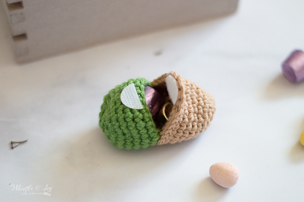 crochet Easter egg with velcro crochet pattern handmade crochet egg that opens up
