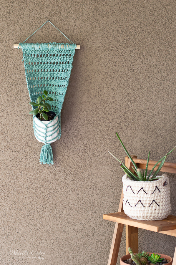 boho faux macrame crochet wall hanging planter