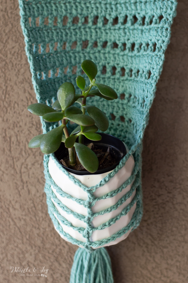 Jade plant in faux macrame wall hanging crochet pattern