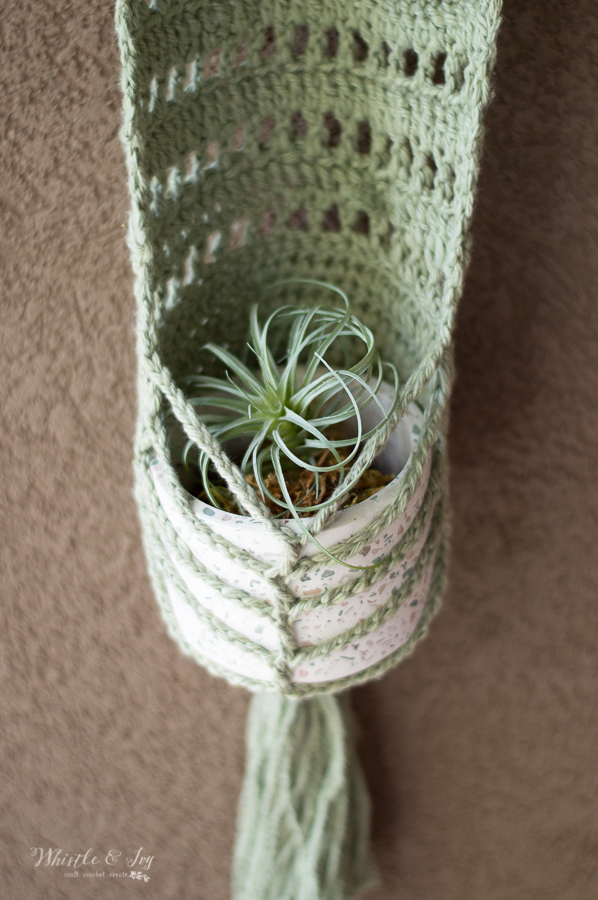 cotton yarn faux macrame crochet wall hanging planter