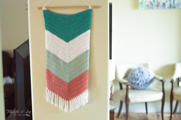 crochet chevron wall hanging crochet pattern decor fringe boho