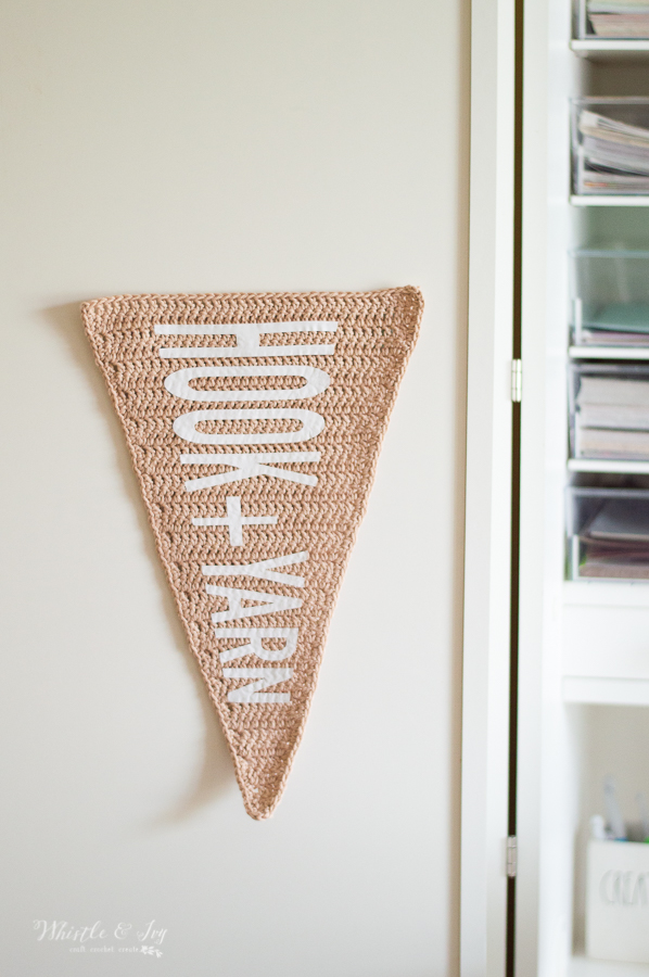 modern crochet pattern crochet wall pennant with heat transfer vinyl