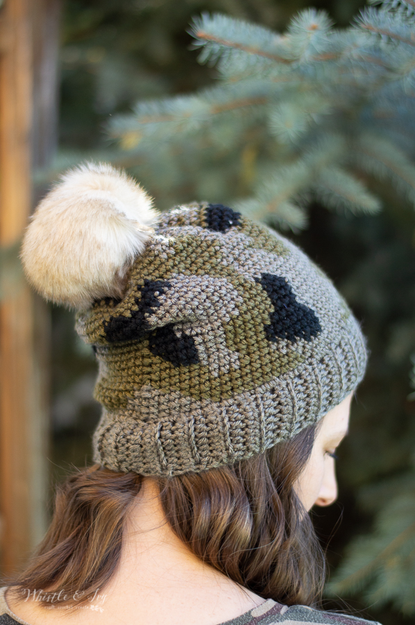 crochet camo hat pattern crochet color work design
