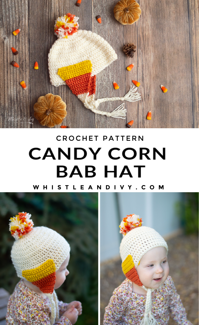 cute fall halloween candy corn hat for baby crochet pattern