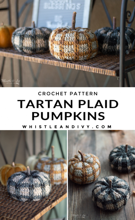crochet pumpkins crochet pattern for crochet plaid tartan pumpkins with tweed yarn