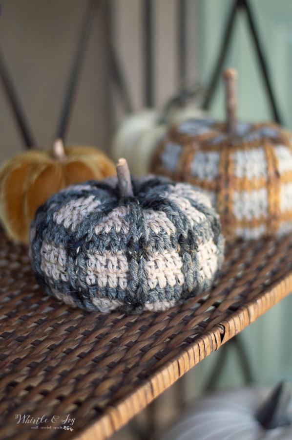 cute crochet plaid pumpkins tweed tartan plaid pumpkin pattern crochet fall decor for halloween and thanksgiving