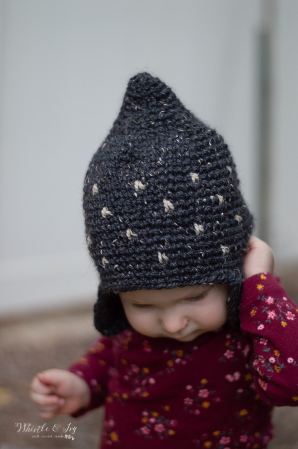 cute crochet tweed pixie hat crochet pattern baby toddler kids patterns