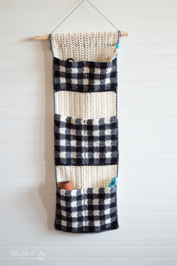 plaid crochet hanging organizer pocket organizer for crafting pockets to hold tools and notions diy storage idea