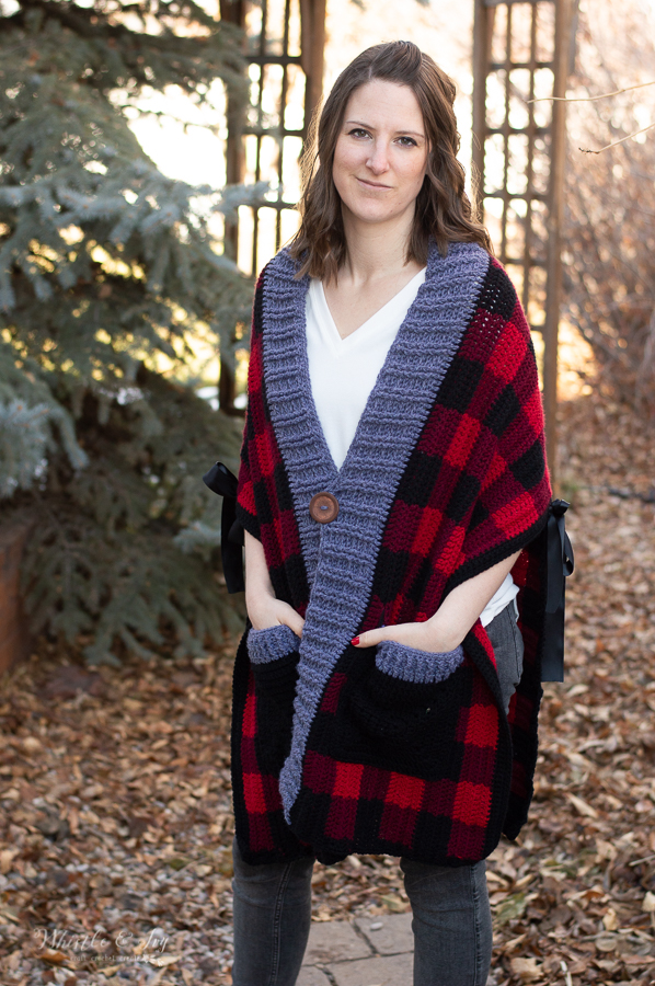 crochet plaid poncho scarf shawl crochet pattern