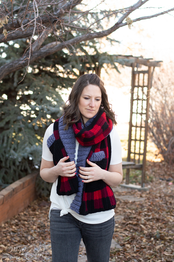 crochet pocket scarf shawl crochet pattern buffalo plaid