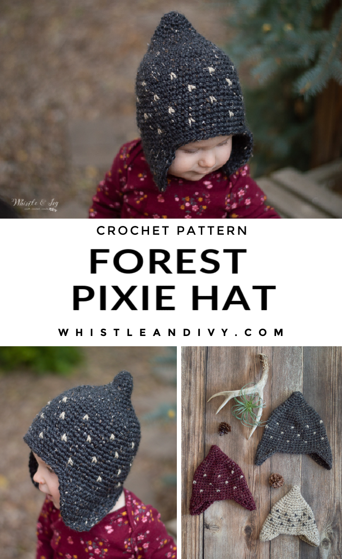 baby toddler kids rustic pixie hat crochet pattern tweed wool yarn