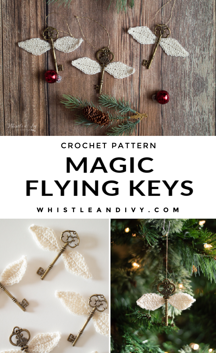 crochet flying keys Harry Potter DIY ornaments