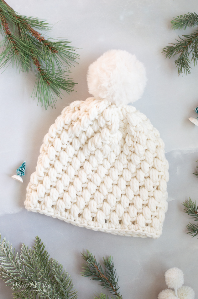 crochet pattern snow puff stitch crochet hat fast easy crochet hat pattern for winter and fall warm hat