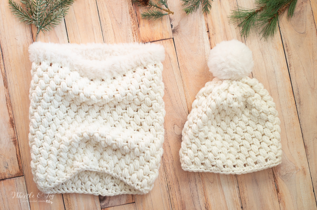 crochet pattern puff stitch hat and owl with faux fur pom-pom