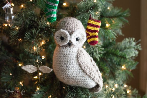 Christmas Harry Potter owl crochet tree topper rustic owl crochet pattern