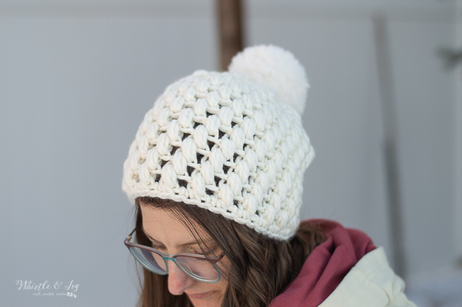pretty crochet winter hat puff stitch crochet hat