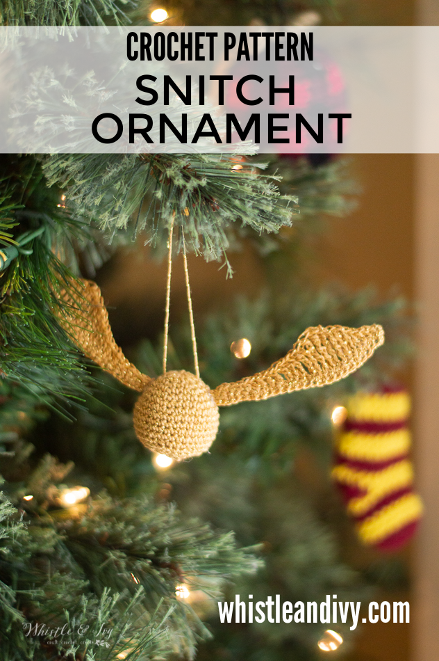 crochet golden snitch Harry Potter ornament DIY crochet pattern
