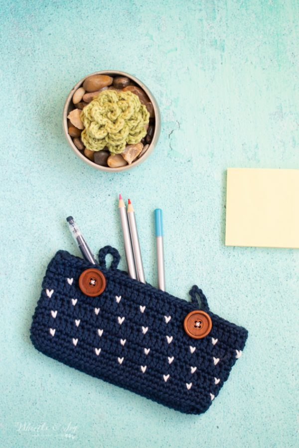 faux knit stitch crochet pattern crochet pencil pouch