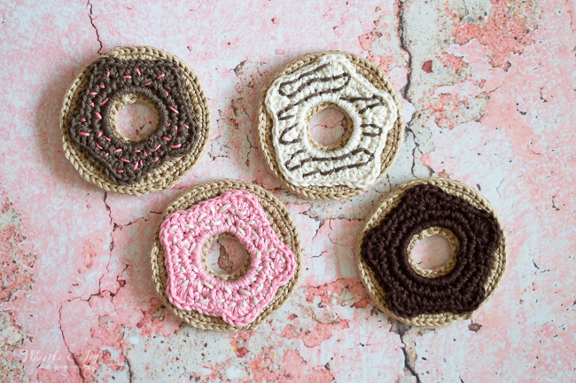 crochet donut crochet doughnut coasters crochet pattern