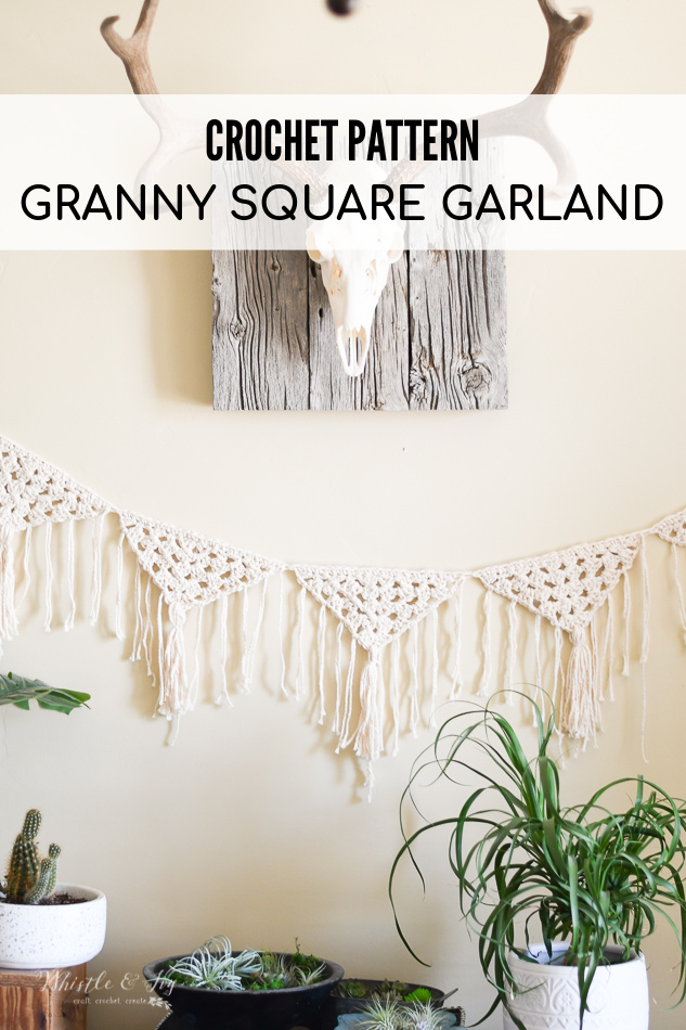 boho crochet garland granny stitch fringe decor crochet pattern