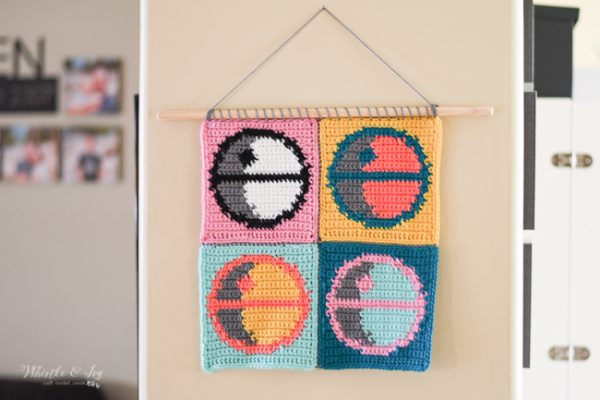 crochet pattern Death Star pop art Andy Warhol wall hanging Star Wars wall hanging