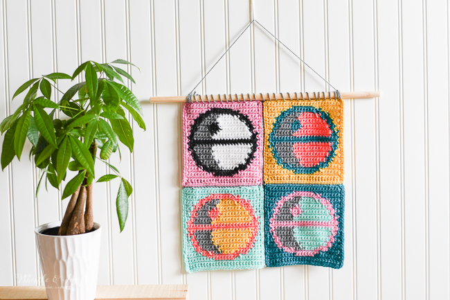 crochet Death Star pop art wall hanging square crochet pattern Star Wars