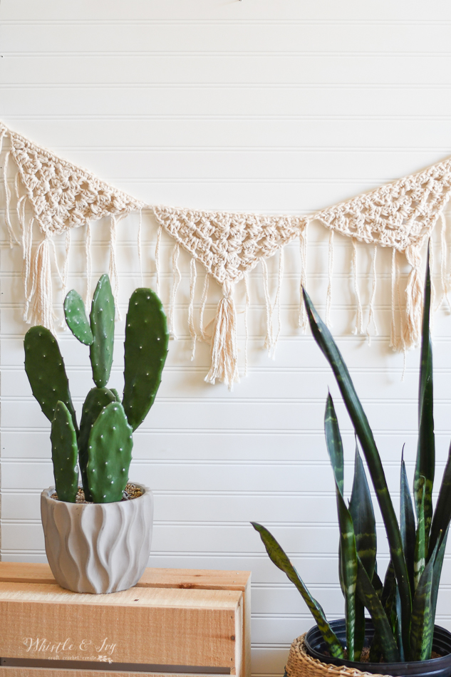 pretty boho hippie crochet garland fringe tassel crochet pattern easy summer crochet decor pattern