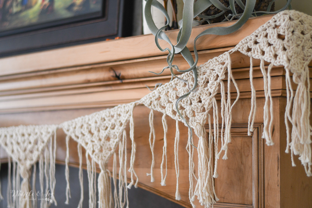 crochet fringe boho triangle granny square garland easy crochet pattern