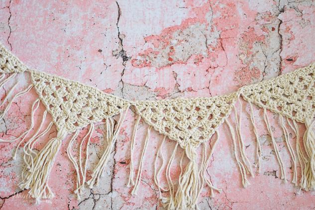crochet garland crochet pattern boho fringe granny triangle pattern