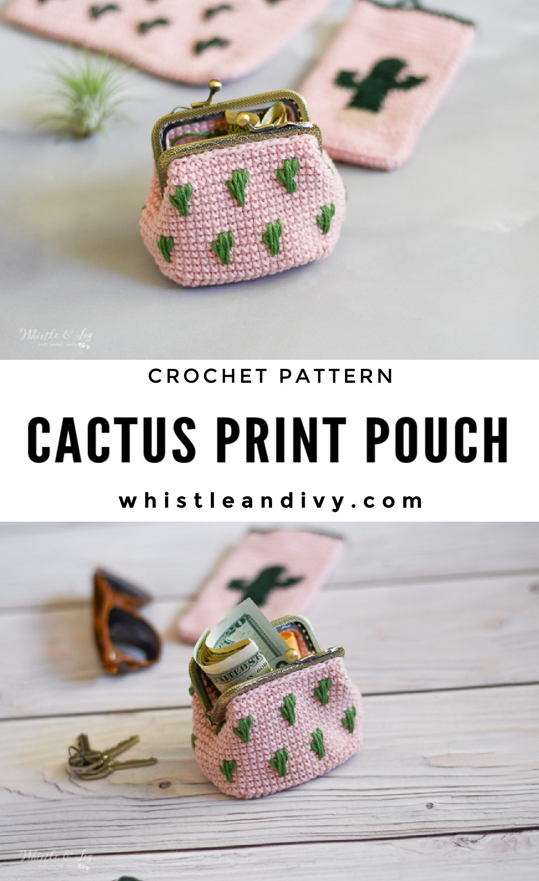 crochet cactus clutch pouch coin purse coin pouch crochet pattern