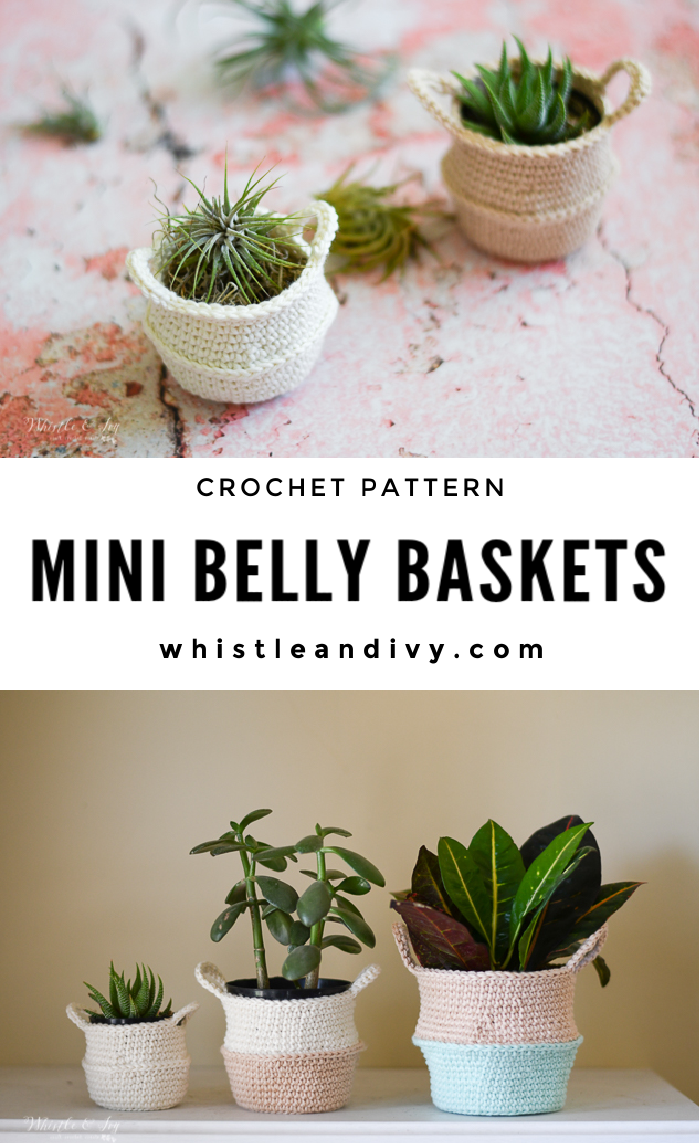 crochet belly basket crochet pattern crochet plant air plant display