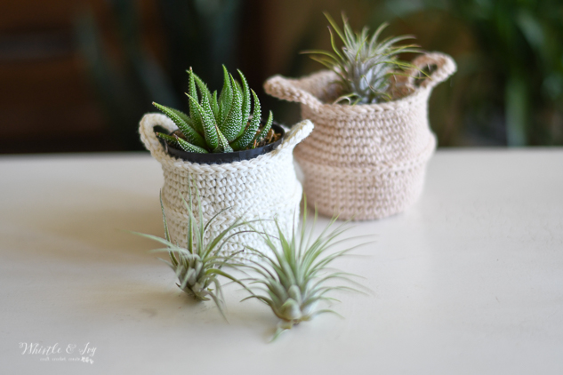 crochet belly basket crochet pattern crochet planter crochet air plant display