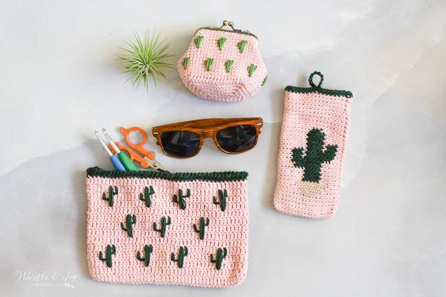 cute crochet pouch set with cactus embroidery crochet pattern set summer crochet ideas