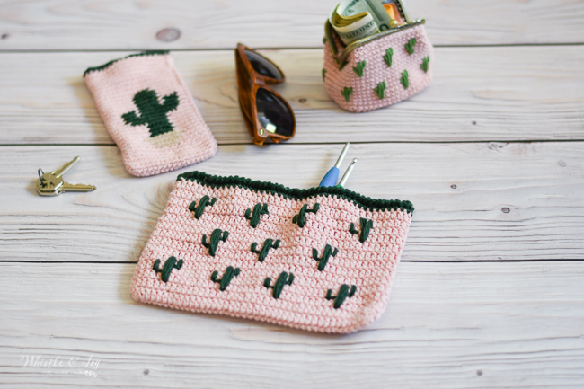crochet pouch pattern set crochet cactus clutch embroidery pattern