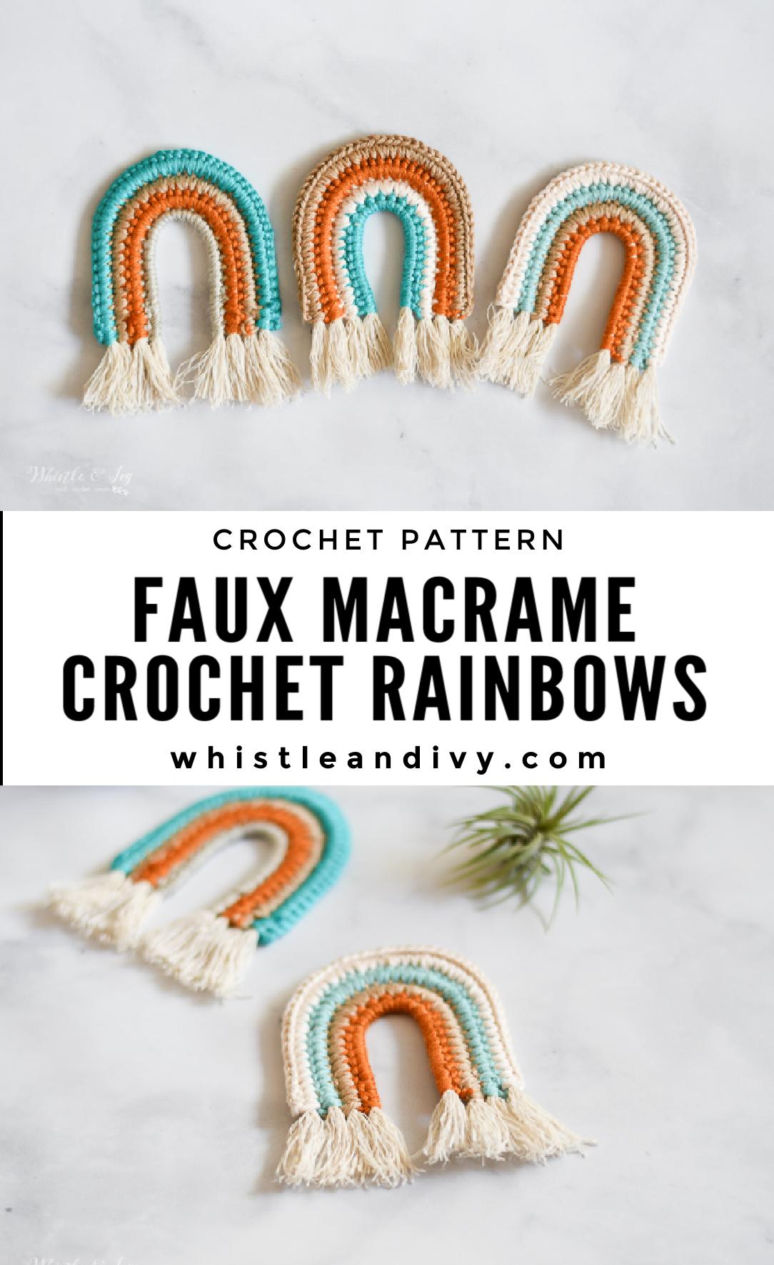 crochet rainbows fringe boho hippie neutral baby toy crochet pattern faux macrame