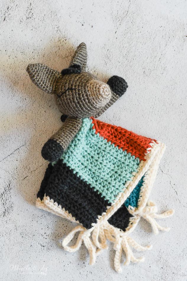 crochet donkey lovey blanket for baby modern southwestern crochet ideas for baby shower