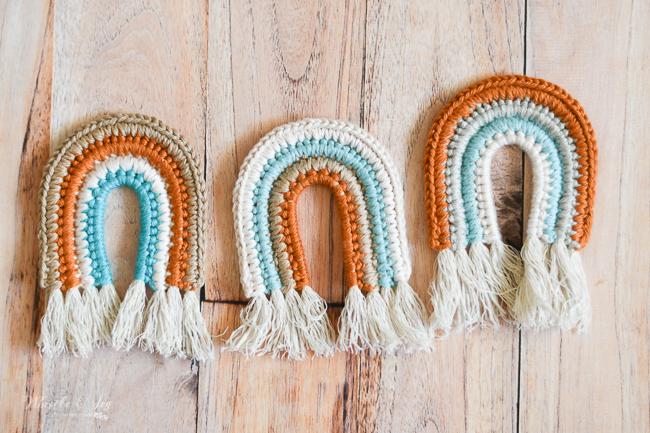 faux macrame crochet rainbow crochet pattern boho baby ideas crochet toy for baby