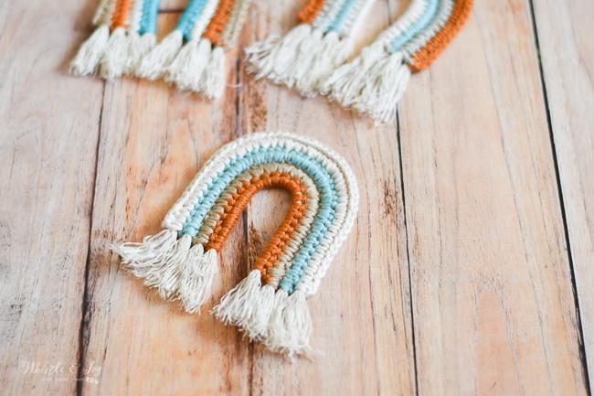 cute boho baby nursery toy crochet rainbow pattern faux macrame
