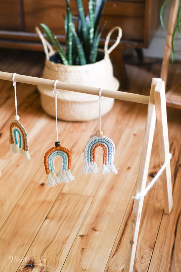 crochet faux macrame crochet rainbow baby toy crochet pattern