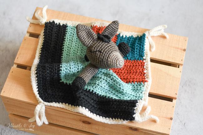 modern crochet donkey lovey crochet  pattern for baby security blanket southwest modern boho desert crochet pattern