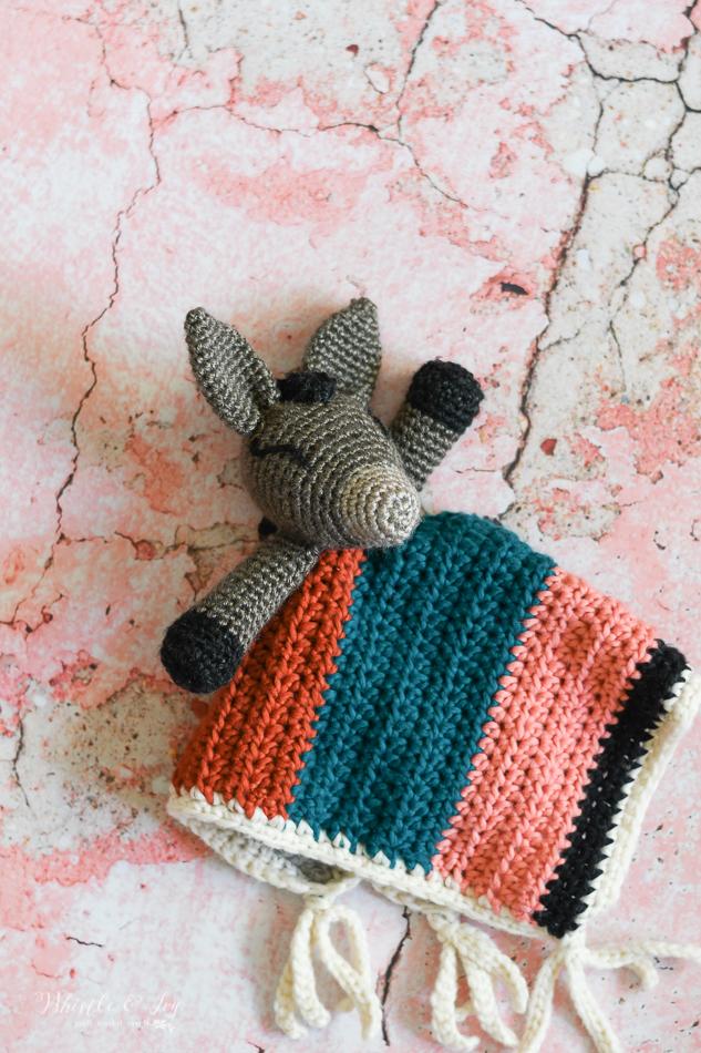 modern crochet lovey pattern donkey southwest boho modern baby shower handmade pattern idea