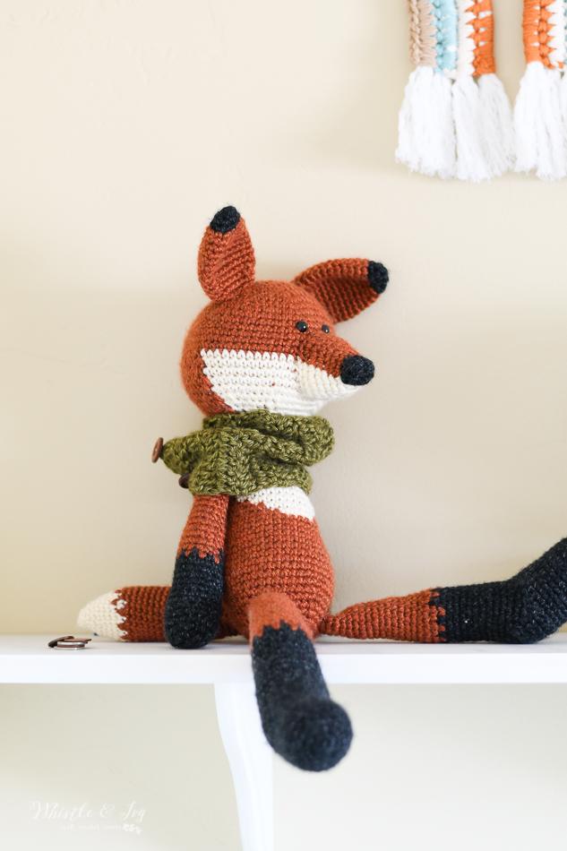 crochet fox toy, modern baby crochet nursery ideas